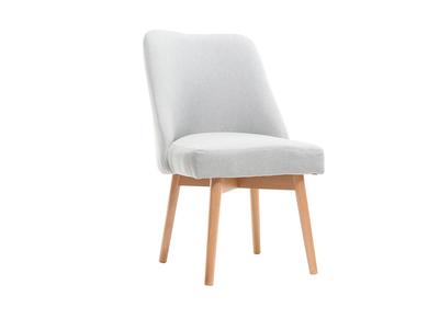 Silla escandinava tejido gris patas madera clara LIV