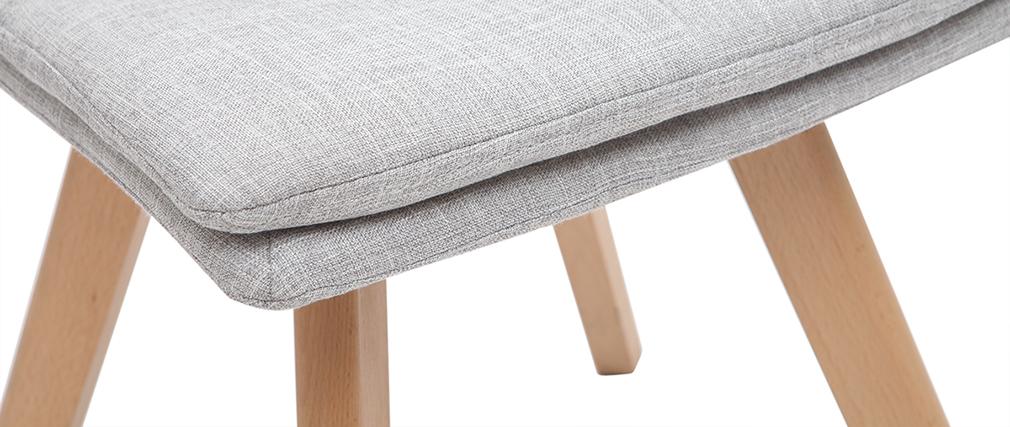 Silla escandinava tejido gris patas madera clara lote de 2 THEA
