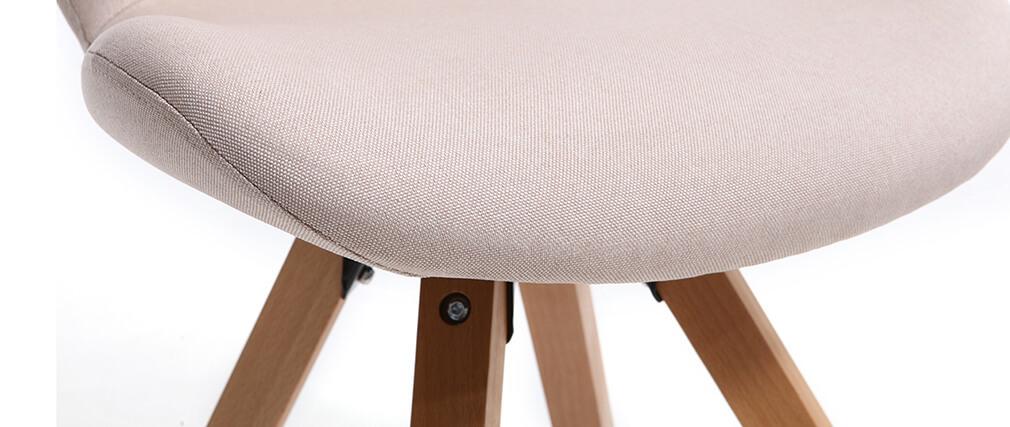 Silla escandinava tejido rosa patas madera clara ANYA