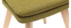 Silla escandinava tejido verde patas madera clara lote de 2 THEA