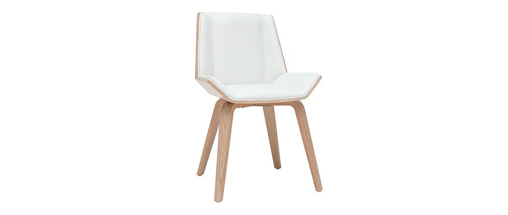 Silla moderna blanca y madera clara MELKIOR
