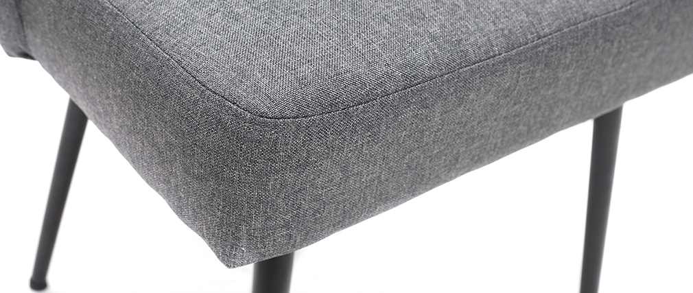 Silla moderna en tejido gris oscuro y patas metal negror LOV