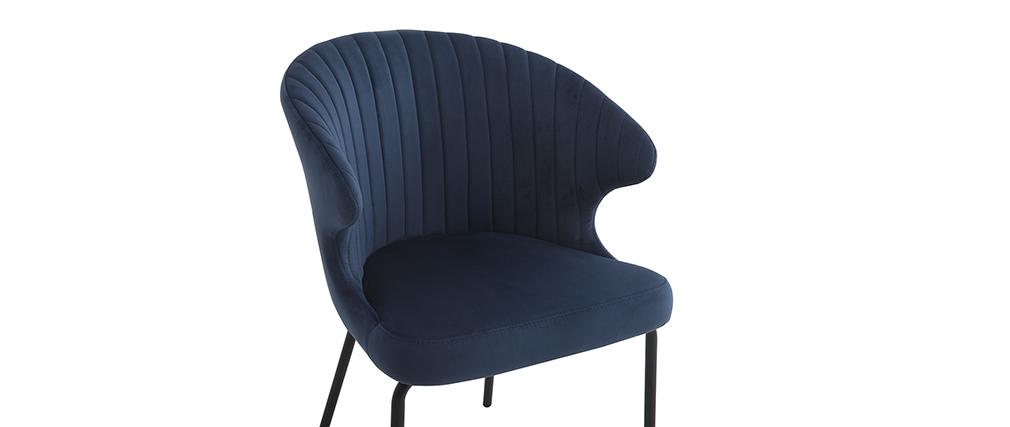 Silla moderna en terciopelo azul oscuro REQUIEM