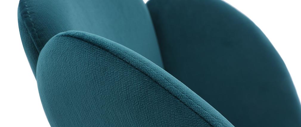 Silla moderna en terciopelo azul petróleo FLOS
