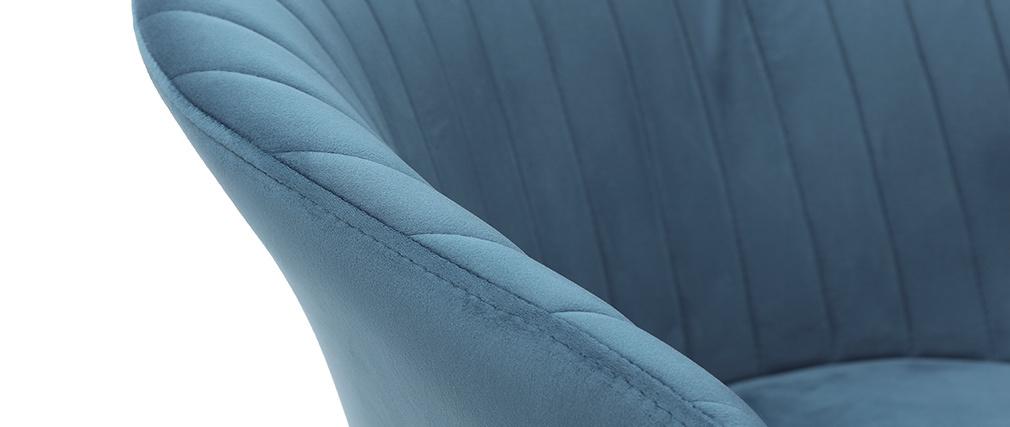 Silla moderna en terciopelo azul petróleo REQUIEM