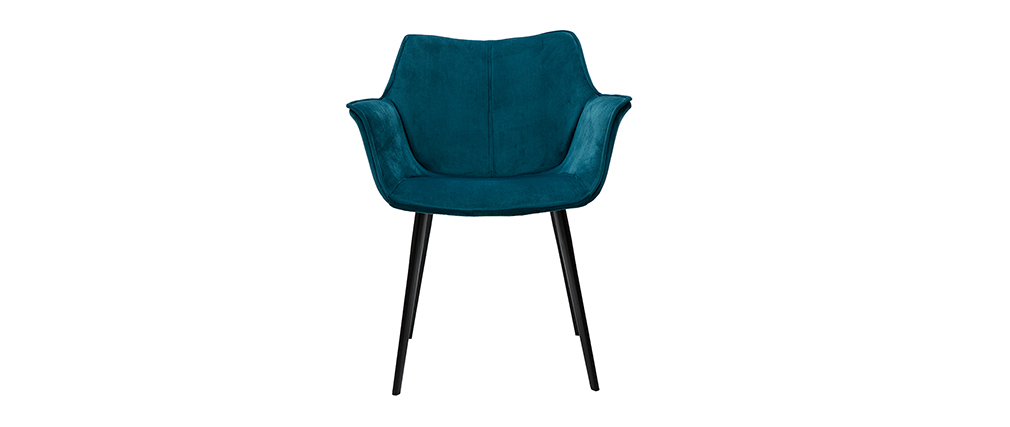 Silla moderna en terciopelo azul petróleo y patas metal negro VOLO