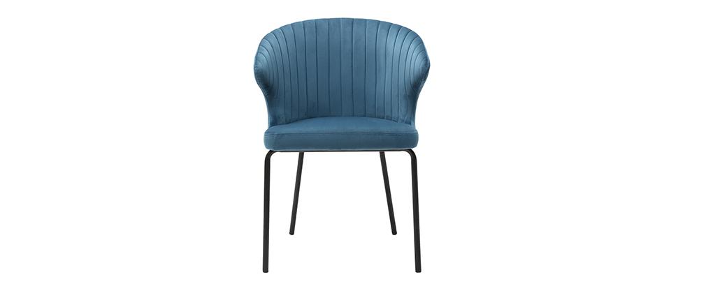 Silla moderna en terciopelo azul REQUIEM