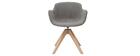 Silla moderna tejido efecto terciopelo gris y madera AARON