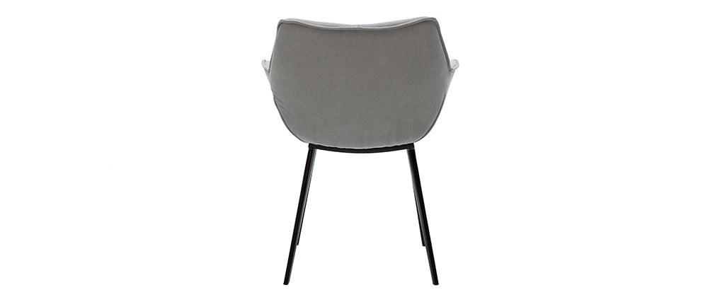Silla moderna tejido gris y patas metal negro VOLO