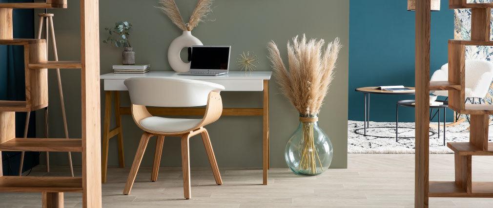 Silla nórdica blanco y madera clara OKTAV