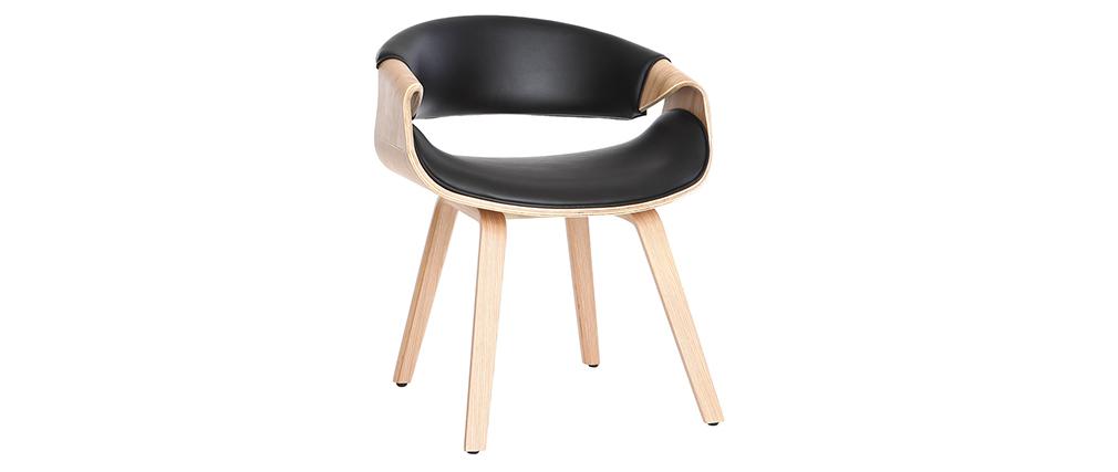 Silla nórdica negro y madera clara ARAMIS