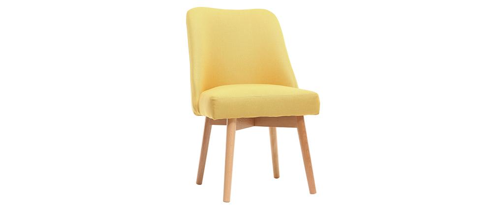 Silla nórdica tejido amarillo patas madera clara LIV