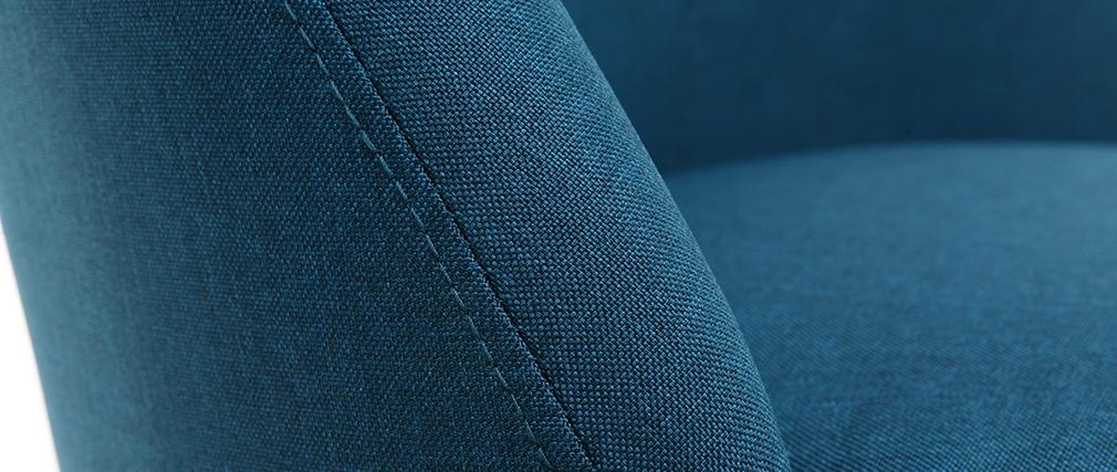 Silla nórdica tejido azul petróleo patas madera clara LIV