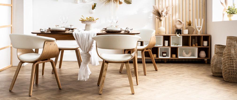 Silla tejido gris y madera clara BENT
