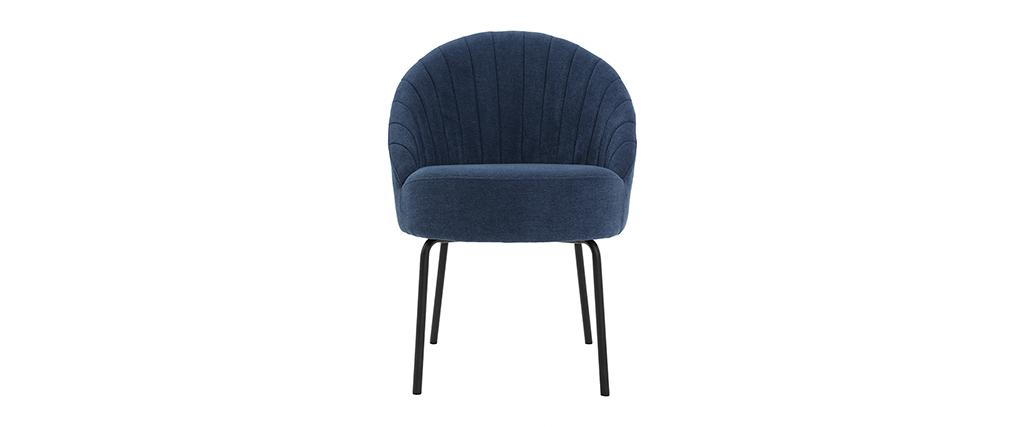 Silla terciopelo azul y metal negro IZAAC