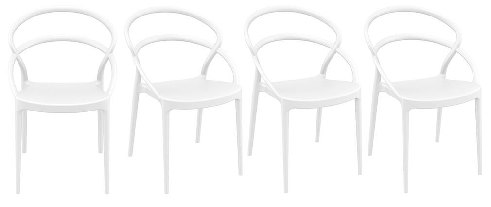 Sillas apilables color blanco interior / exterior (lote de 4) COLIBRI