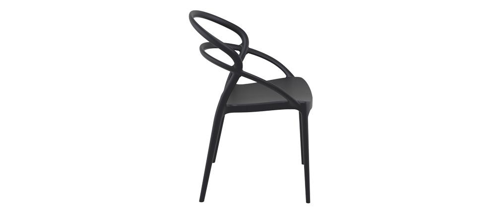 Sillas apilables color negro interior / exterior (lote de 4) COLIBRI