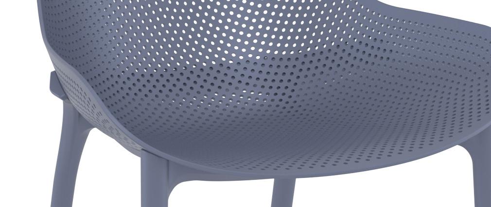 Sillas apilables grises interior / exterior (lote de 4) OSKOL