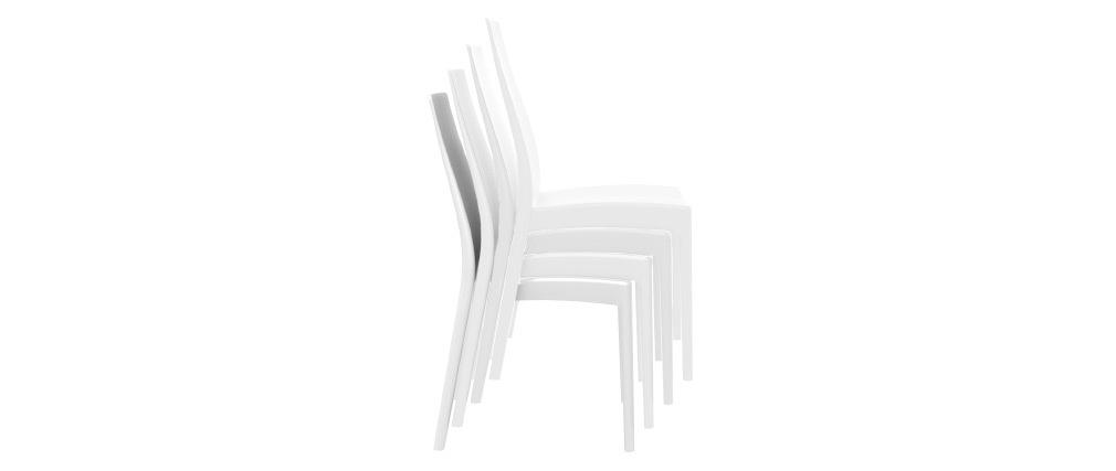 Sillas apilables interior / exterior blancas (lote de 4) CONDOR