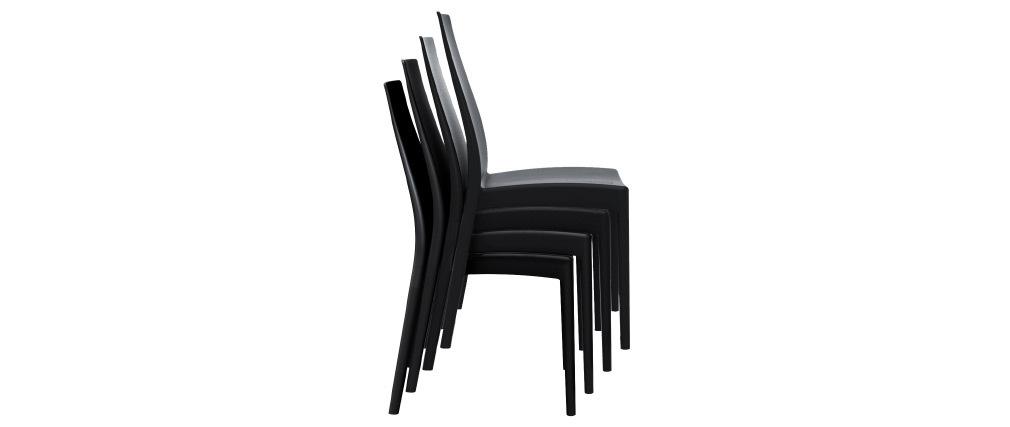 Sillas apilables interior / exterior negras (lote de 4) CONDOR