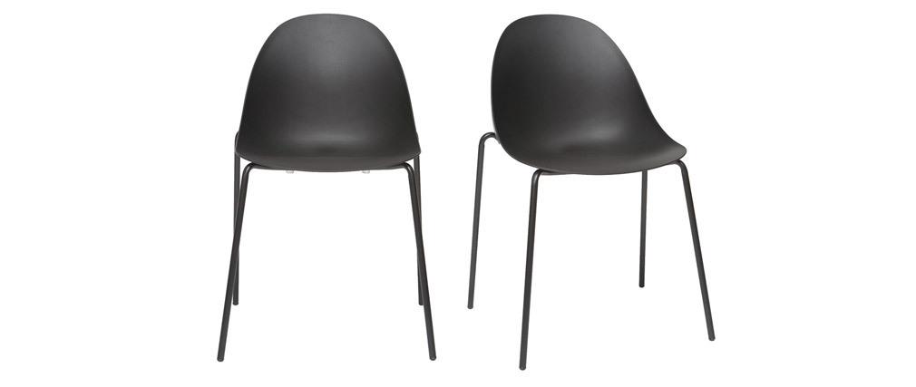 Sillas apilables modernas negras patas metal (lote de 2) CONCHA
