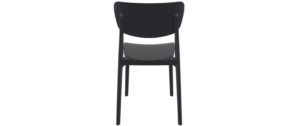 Sillas apilables negras interior / exterior (lote de 4) COBB