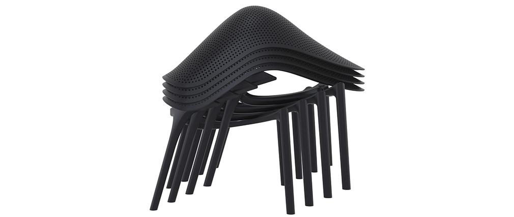 Sillas apilables negras interior / exterior (lote de 4) OSKOL