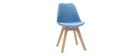 Sillas azules con patas madera clara (lote de 2) PAULINE