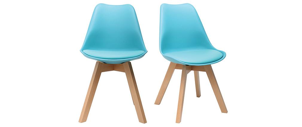 Sillas azules turquesa con patas madera clara (lote de 2) PAULINE