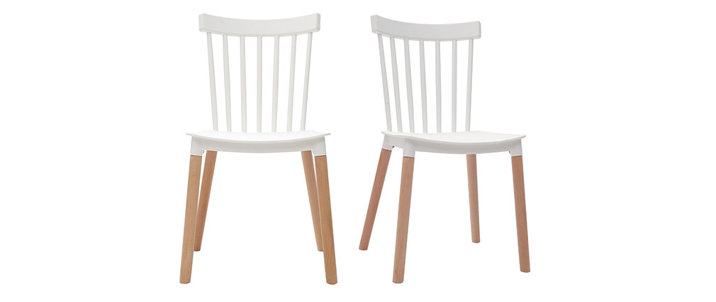 Sillas bicolores blanco y madera (lote de 2) GAMBO
