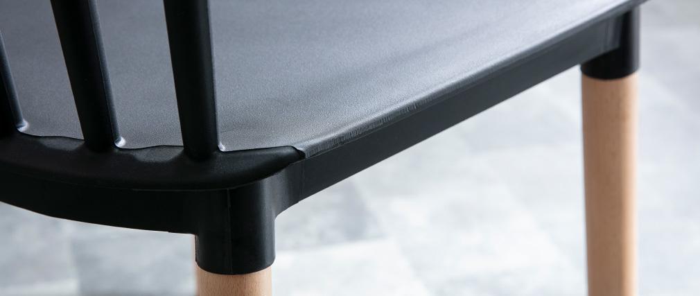 Sillas bicolores negro y madera (lote de 2) GAMBO