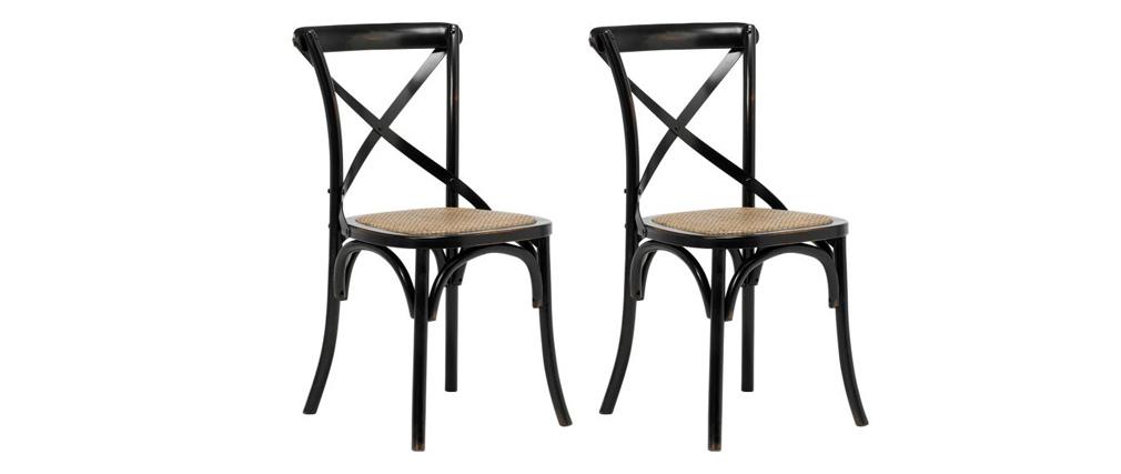 Sillas bistro en madera negra y ratán - lote de 2 KAFFE