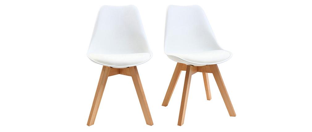 Sillas blancas con patas madera clara (lote de 2) PAULINE