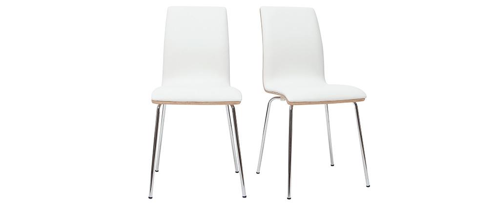 Sillas blanco y madera clara con patas metal (lote de 2) DELICACY