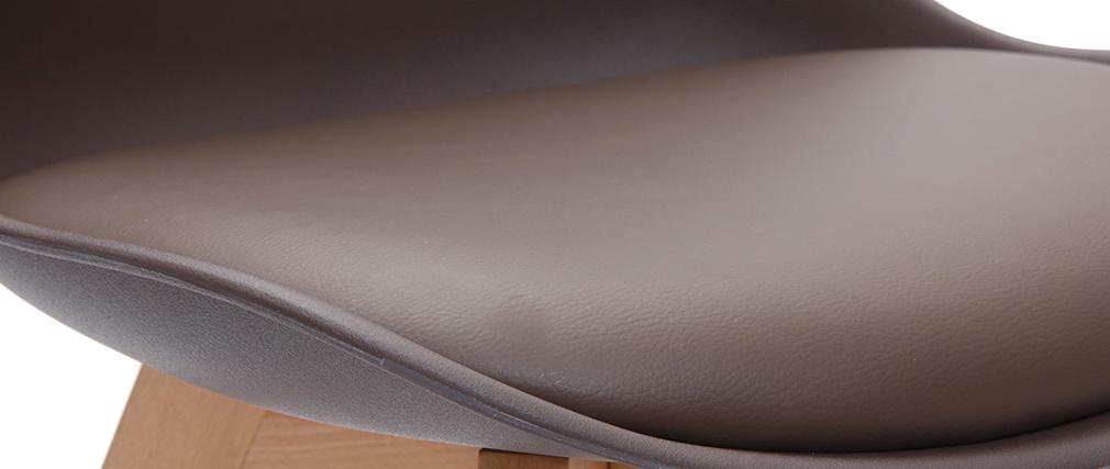 Sillas chocolate con patas madera clara (lote de 2) PAULINE