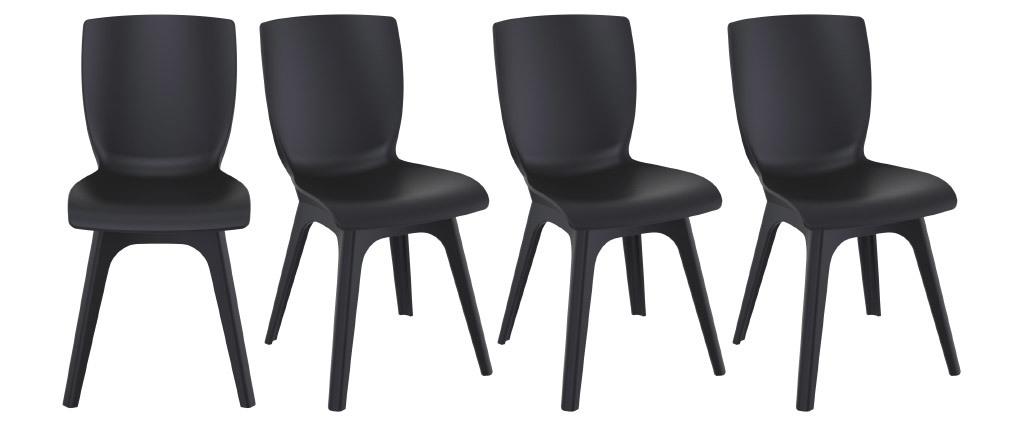 Sillas color negro interior / exterior (lote de 4) SWAN