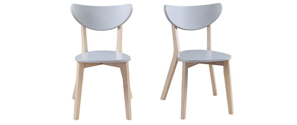 Sillas diseño gris patas madera LEENA (lote de 2)