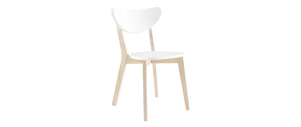 Sillas diseño madera y laminado blanco LEENA (lote de 2)