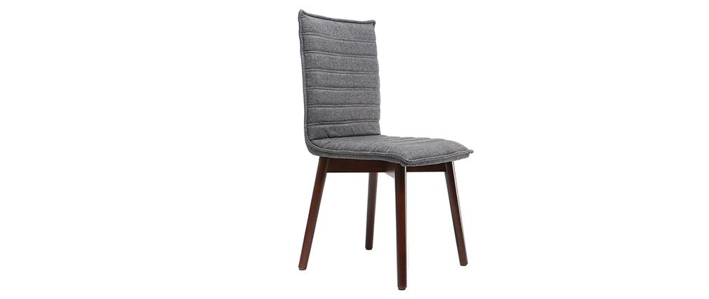 Sillas diseño tejido gris antracita patas madera oscura lote de 2 IZAL
