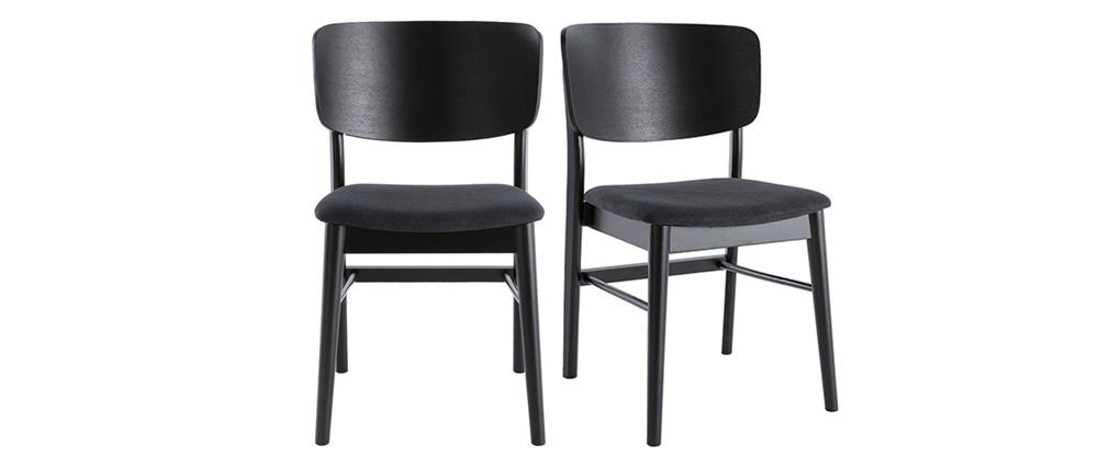 Sillas en madera negra y tejido gris oscuro (lote de 2) SHELDON