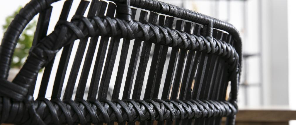 Sillas en ratán natural pintadas en negro (lote de 2) MALACCA