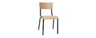 Sillas escolares apilables en metal negro y madera clara (lote de 2) SCHOOL