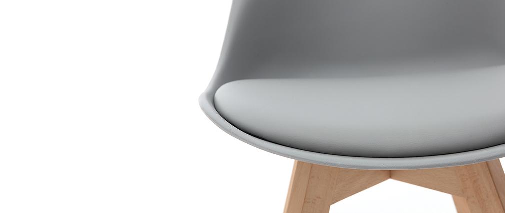 Sillas gris claro con patas madera clara (lote de 2) PAULINE
