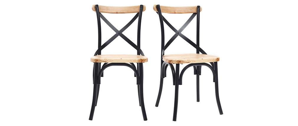 Sillas industriales en metal negro y madera (lote de 2) JAKE