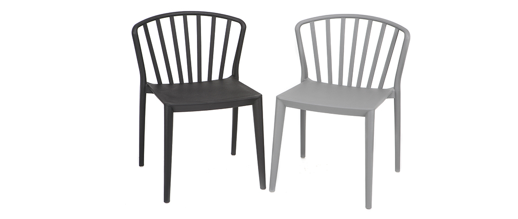 Sillas modernas apilables grises interior / exterior - lote de 2 PATIO
