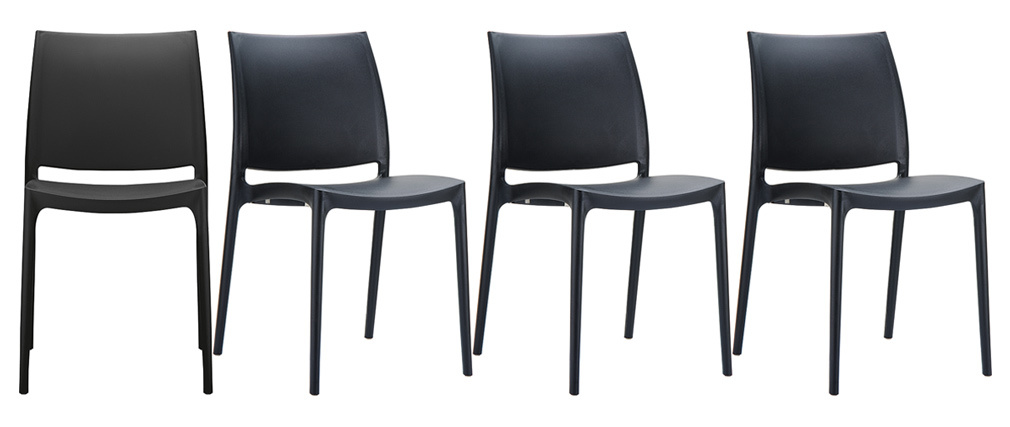 Sillas modernas apilables negras interior / exterior (lote de 4) CALAO