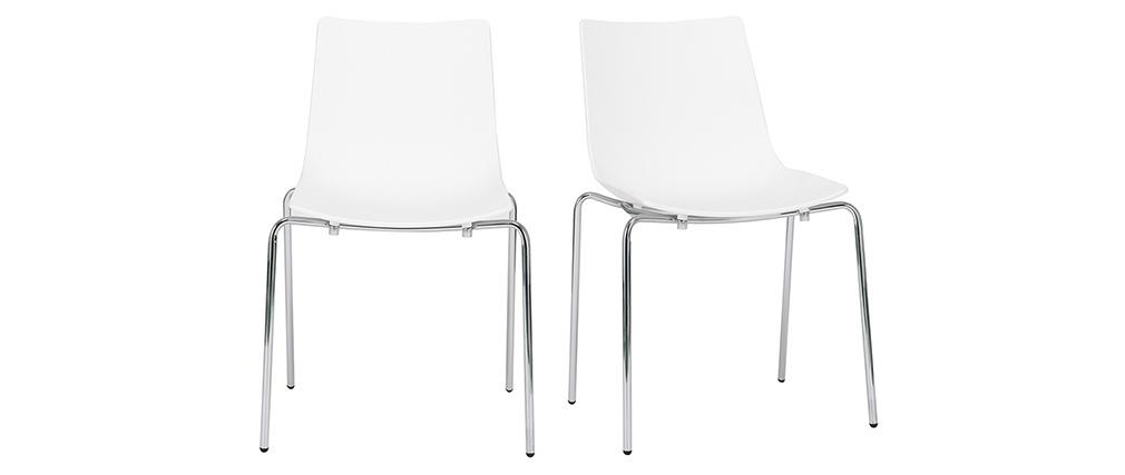 Sillas modernas blancas apilables con patas en metal - lote de 2 CELEBRATION