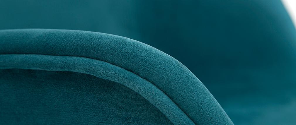 Sillas modernas en tejido efecto terciopelo azul petróleo (lote de 2) SAKE