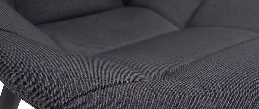 Sillas modernas en tejido gris oscuro y metal (lote de 2) COX