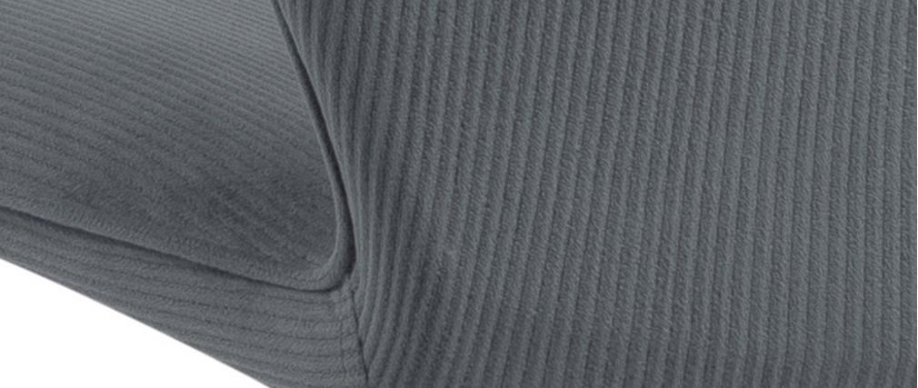 Sillas modernas en terciopelo acanalado gris y metal (lote de 2) ADDICT